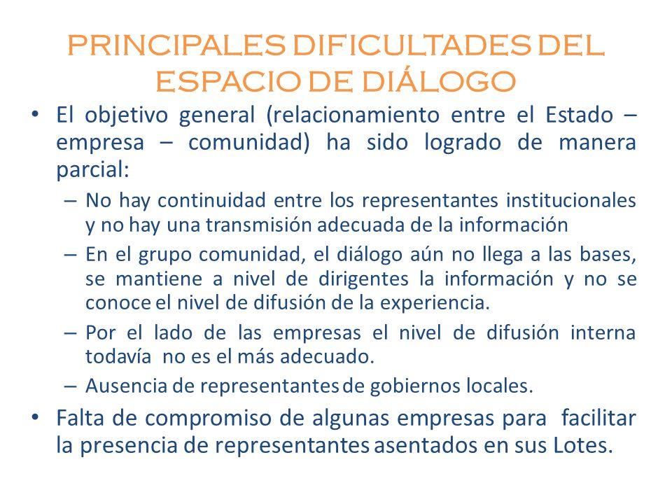 PRINCIPALES DIFICULTADES DEL ESPACIO DE DIÁLOGO El objetivo general (relacionamiento entre el Estado – empresa – comunidad) ha sido logrado de manera