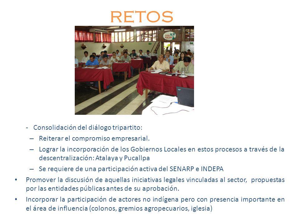 RETOS - Consolidación del diálogo tripartito: – Reiterar el compromiso empresarial. – Lograr la incorporación de los Gobiernos Locales en estos proces