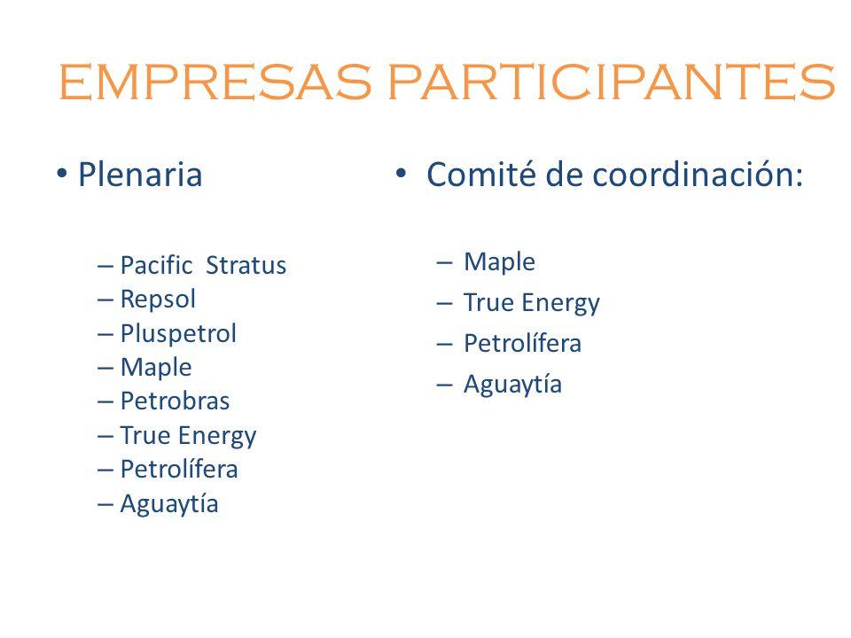 EMPRESAS PARTICIPANTES Comité de coordinación: – Maple – True Energy – Petrolífera – Aguaytía Plenaria – Pacific Stratus – Repsol – Pluspetrol – Maple