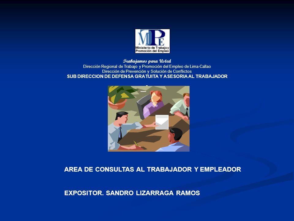 Trabajamos para Usted Dirección Regional de Trabajo y Promoción del Empleo de Lima-Callao Dirección de Prevención y Solución de Conflictos SUB DIRECCION DE DEFENSA GRATUITA Y ASESORIA AL TRABAJADOR AREA DE CONSULTAS AL TRABAJADOR Y EMPLEADOR EXPOSITOR.