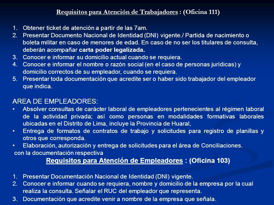 Excepciones para atención de consultas al trabajador : El servicio de consultas no atiende a : 1.Trabajadores de entidades pública nombrados o contratados, bajo el régimen laboral del Decreto Legislativo Nº 276 (Estén en planilla o por contrato de locación de servicios o servicios no personales), conforme al Decreto Legislativo Nº 910 Art.2º (*) concordado con la Ley 28806 Art.4º.