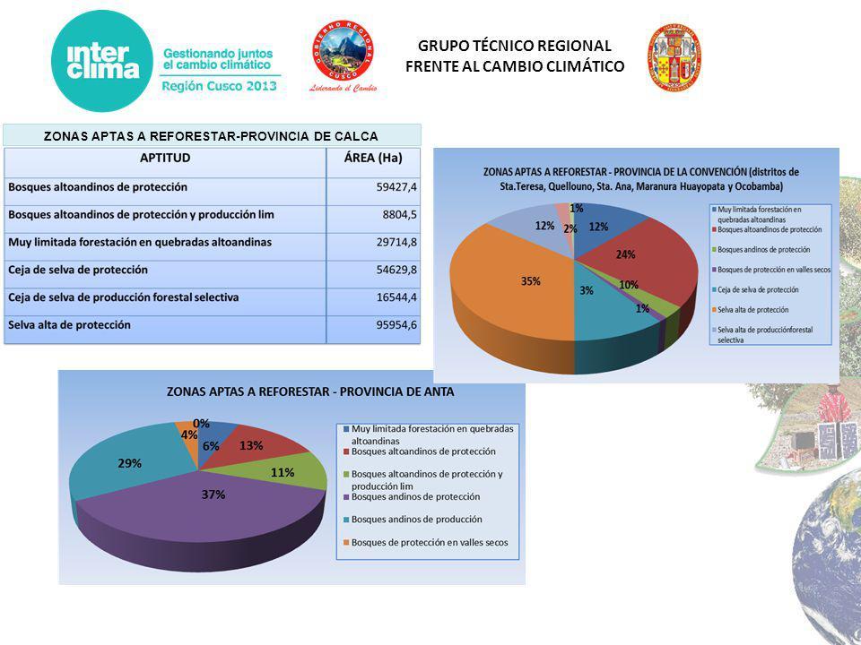 GRUPO TÉCNICO REGIONAL FRENTE AL CAMBIO CLIMÁTICO ZONAS APTAS A REFORESTAR-PROVINCIA DE CALCA