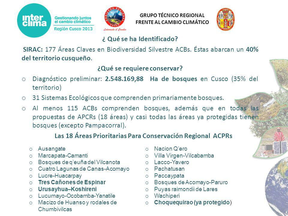 GRUPO TÉCNICO REGIONAL FRENTE AL CAMBIO CLIMÁTICO ¿ Qué se ha Identificado? SIRAC: 177 Áreas Claves en Biodiversidad Silvestre ACBs. Éstas abarcan un