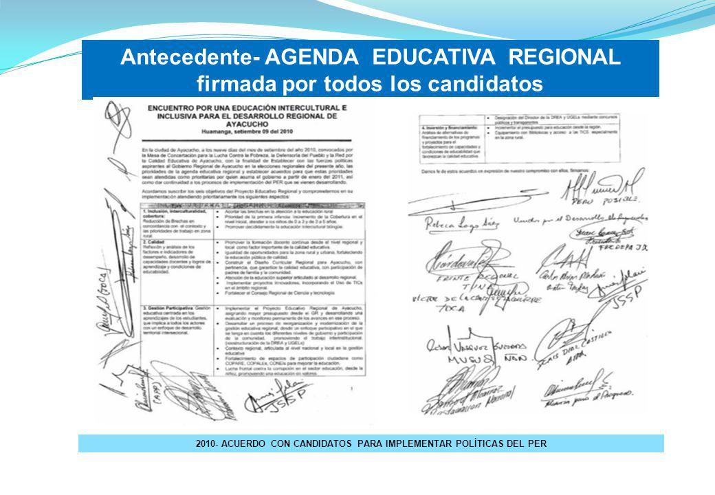 Antecedente- AGENDA EDUCATIVA REGIONAL firmada por todos los candidatos 2010- ACUERDO CON CANDIDATOS PARA IMPLEMENTAR POLÌTICAS DEL PER