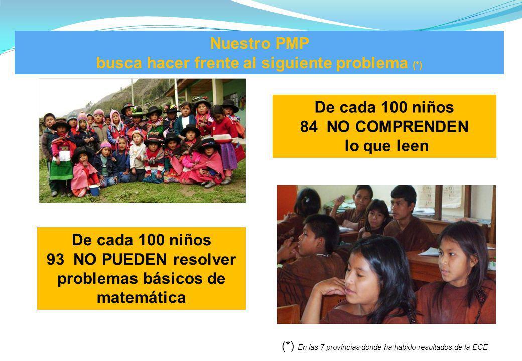 Nuestro PMP busca hacer frente al siguiente problema (*) De cada 100 niños 84 NO COMPRENDEN lo que leen De cada 100 niños 93 NO PUEDEN resolver proble