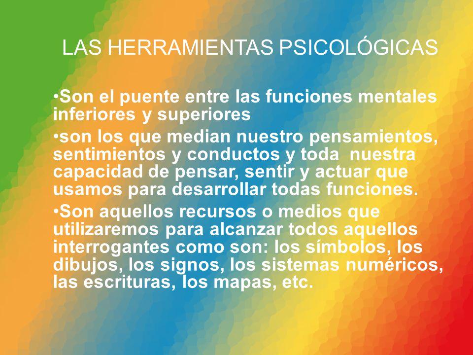LAS HERRAMIENTAS PSICOLÓGICAS Son el puente entre las funciones mentales inferiores y superiores son los que median nuestro pensamientos, sentimientos