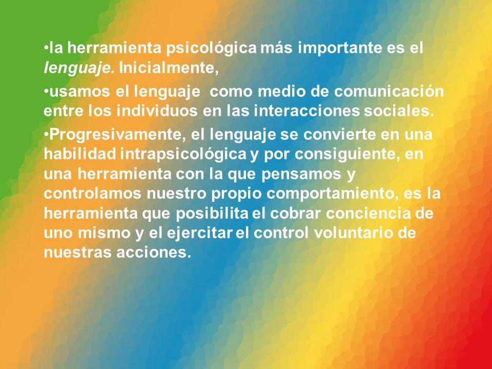 la herramienta psicológica más importante es el lenguaje. Inicialmente, usamos el lenguaje como medio de comunicación entre los individuos en las inte