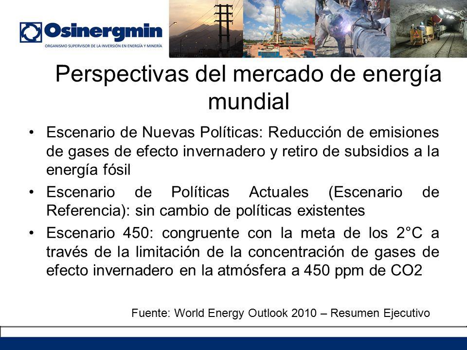Perspectivas del mercado de energía mundial Escenario de Nuevas Políticas: Reducción de emisiones de gases de efecto invernadero y retiro de subsidios a la energía fósil Escenario de Políticas Actuales (Escenario de Referencia): sin cambio de políticas existentes Escenario 450: congruente con la meta de los 2°C a través de la limitación de la concentración de gases de efecto invernadero en la atmósfera a 450 ppm de CO2 Fuente: World Energy Outlook 2010 – Resumen Ejecutivo