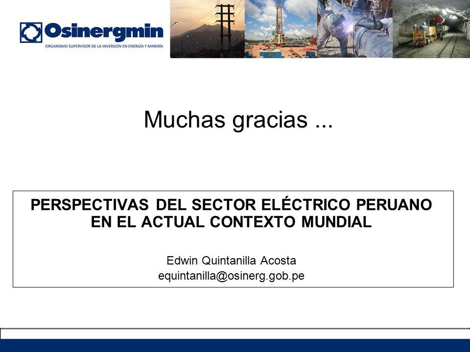 PERSPECTIVAS DEL SECTOR ELÉCTRICO PERUANO EN EL ACTUAL CONTEXTO MUNDIAL Edwin Quintanilla Acosta equintanilla@osinerg.gob.pe Muchas gracias...