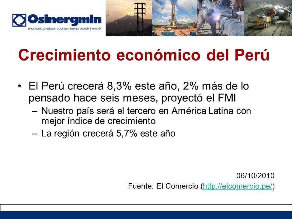 Crecimiento económico del Perú El Perú crecerá 8,3% este año, 2% más de lo pensado hace seis meses, proyectó el FMI –Nuestro país será el tercero en América Latina con mejor índice de crecimiento –La región crecerá 5,7% este año 06/10/2010 Fuente: El Comercio (http://elcomercio.pe/)http://elcomercio.pe/