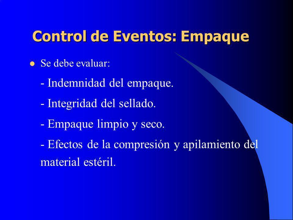 Control de Eventos: Empaque Se debe evaluar: - Indemnidad del empaque.