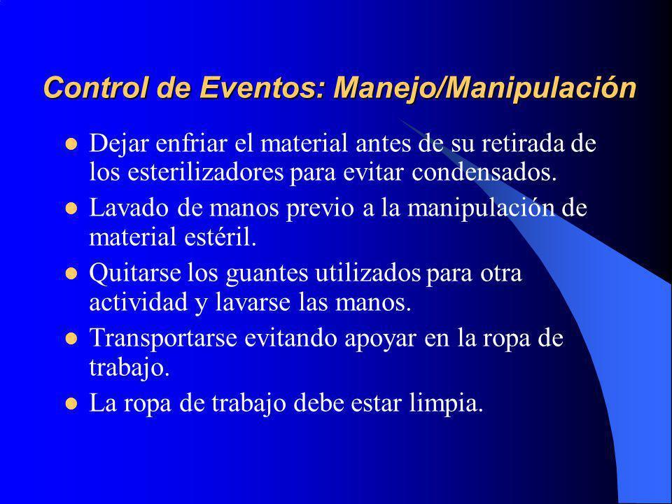 Control de Eventos: Manejo/Manipulación Dejar enfriar el material antes de su retirada de los esterilizadores para evitar condensados.