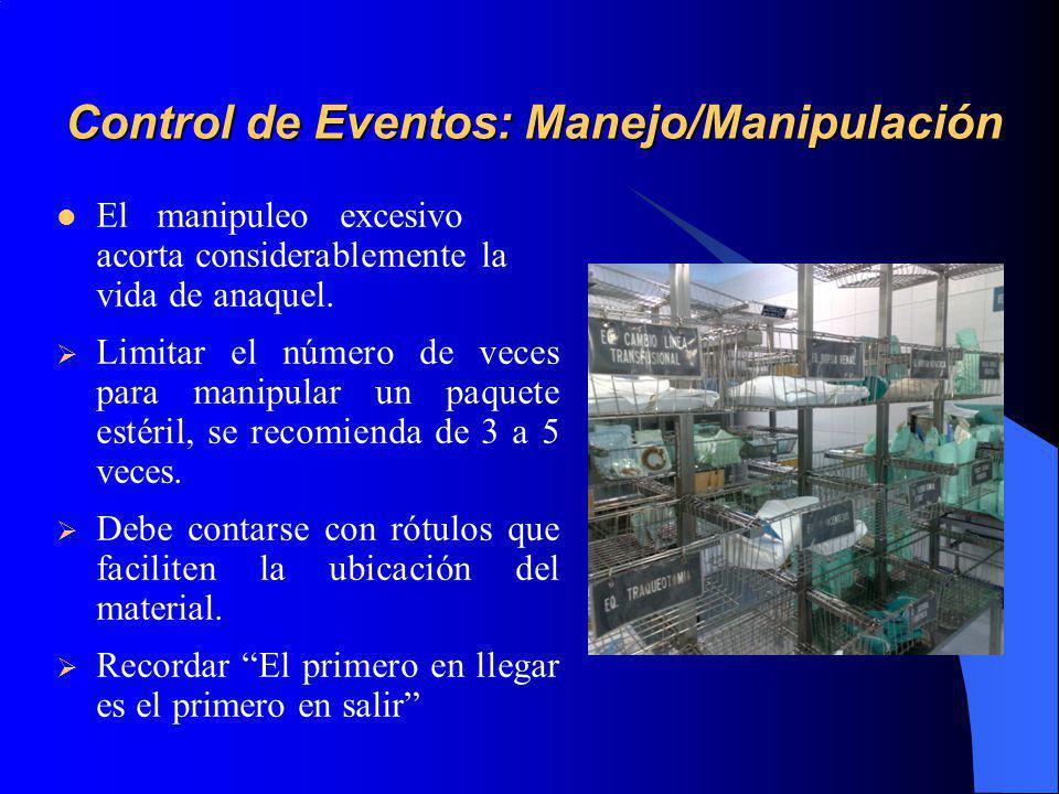 Control de Eventos: Manejo/Manipulación El manipuleo excesivo acorta considerablemente la vida de anaquel.