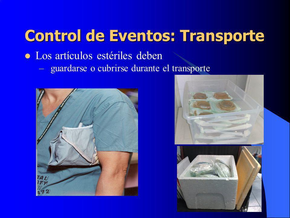 Control de Eventos: Transporte Los artículos estériles deben – guardarse o cubrirse durante el transporte