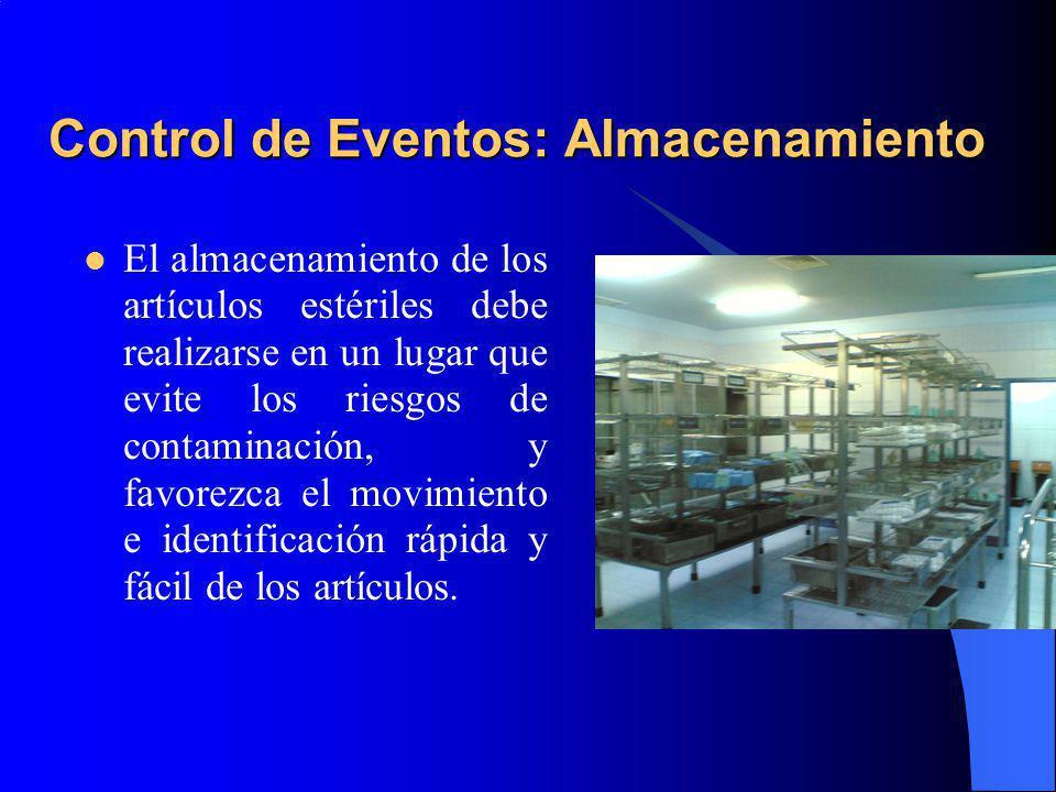 Control de Eventos: Almacenamiento El almacenamiento de los artículos estériles debe realizarse en un lugar que evite los riesgos de contaminación, y favorezca el movimiento e identificación rápida y fácil de los artículos.