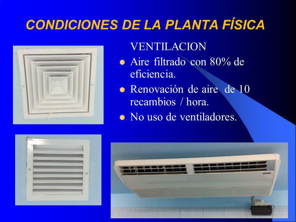 VENTILACION Aire filtrado con 80% de eficiencia.Renovación de aire de 10 recambios / hora.