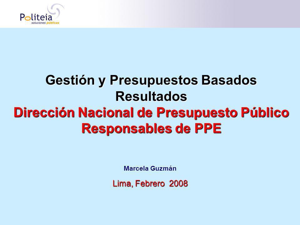 Gestión y Presupuestos Basados Resultados Dirección Nacional de Presupuesto Público Responsables de PPE Marcela Guzmán Lima, Febrero 2008