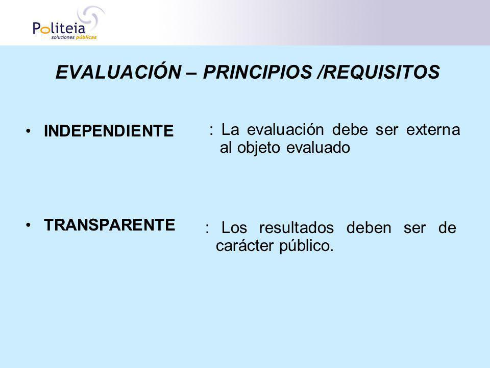 EVALUACIÓN – PRINCIPIOS /REQUISITOS INDEPENDIENTE TRANSPARENTE : La evaluación debe ser externa al objeto evaluado : Los resultados deben ser de carác