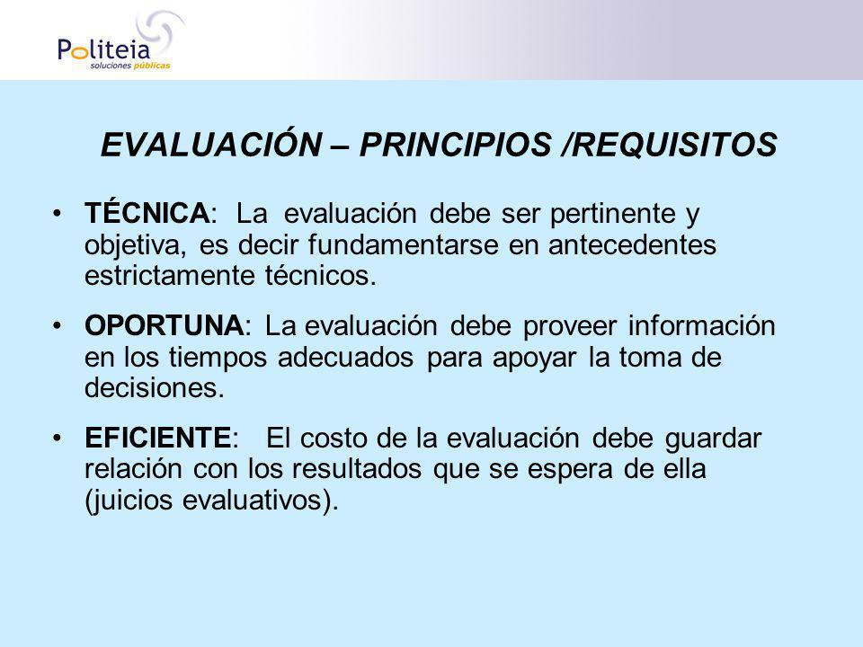 EVALUACIÓN – PRINCIPIOS /REQUISITOS TÉCNICA: La evaluación debe ser pertinente y objetiva, es decir fundamentarse en antecedentes estrictamente técnic