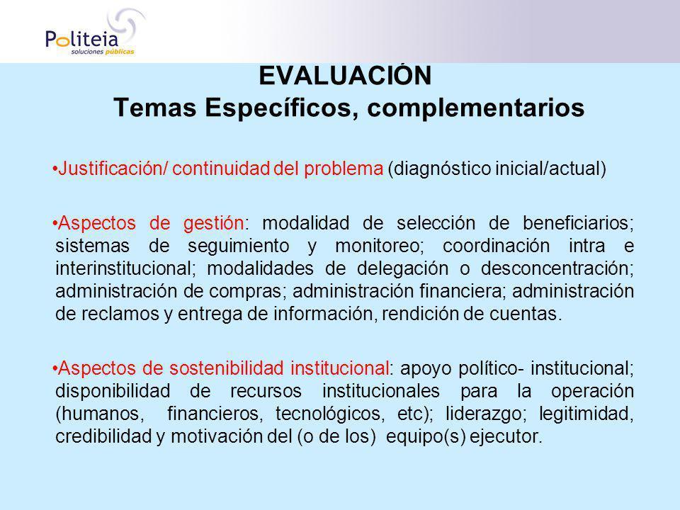 EVALUACIÓN Temas Específicos, complementarios Justificación/ continuidad del problema (diagnóstico inicial/actual) Aspectos de gestión: modalidad de s