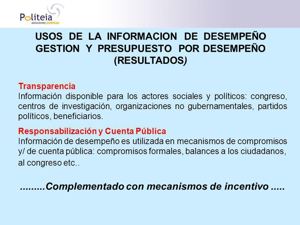USOS DE LA INFORMACION DE DESEMPEÑO GESTION Y PRESUPUESTO POR DESEMPEÑO (RESULTADOS) Transparencia Información disponible para los actores sociales y