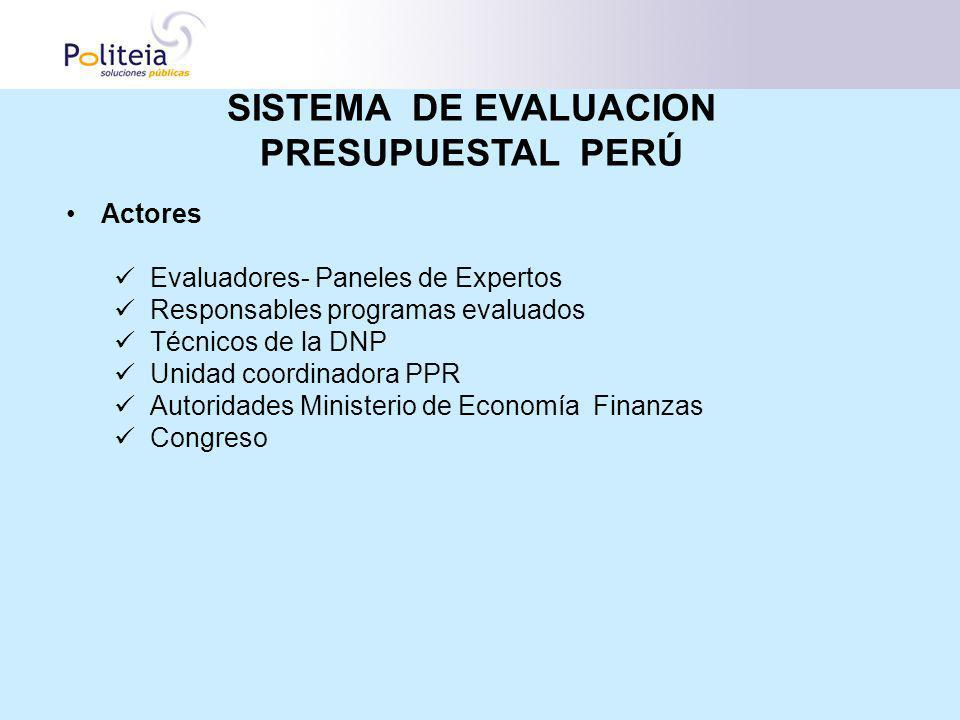 Actores Evaluadores- Paneles de Expertos Responsables programas evaluados Técnicos de la DNP Unidad coordinadora PPR Autoridades Ministerio de Economí