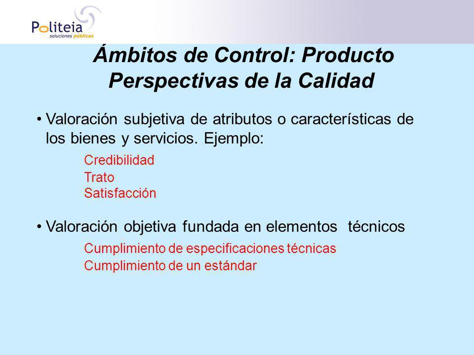 Ámbitos de Control: Producto Perspectivas de la Calidad Valoración subjetiva de atributos o características de los bienes y servicios. Ejemplo: Credib