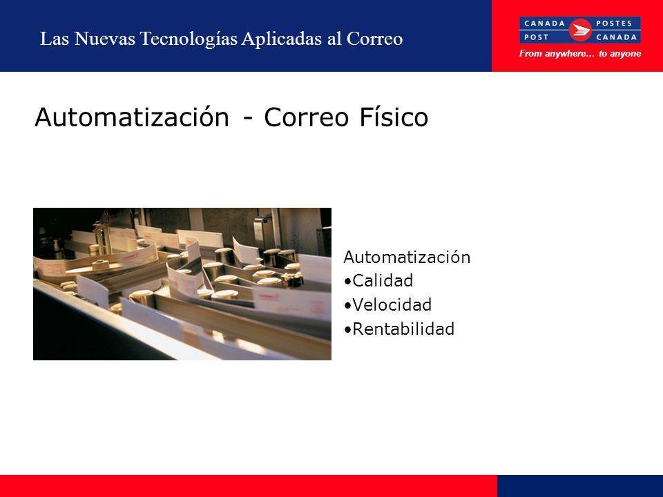 From anywhere… to anyone Las Nuevas Tecnologías Aplicadas al Correo Automatización - Correo Físico Automatización Calidad Velocidad Rentabilidad