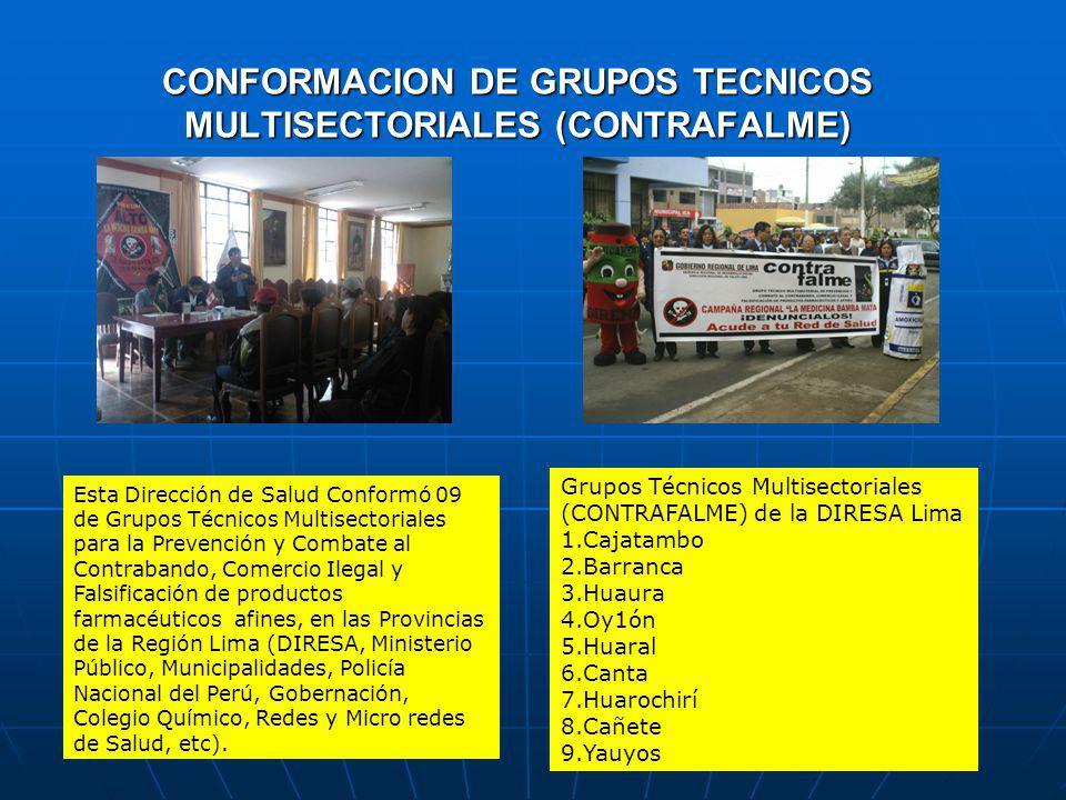 CONFORMACION DE GRUPOS TECNICOS MULTISECTORIALES (CONTRAFALME) Esta Dirección de Salud Conformó 09 de Grupos Técnicos Multisectoriales para la Prevención y Combate al Contrabando, Comercio Ilegal y Falsificación de productos farmacéuticos afines, en las Provincias de la Región Lima (DIRESA, Ministerio Público, Municipalidades, Policía Nacional del Perú, Gobernación, Colegio Químico, Redes y Micro redes de Salud, etc).
