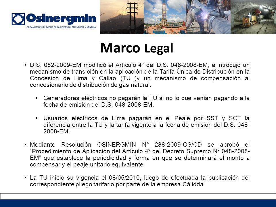 Marco Legal D.S. 082-2009-EM modificó el Artículo 4° del D.S. 048-2008-EM, e introdujo un mecanismo de transición en la aplicación de la Tarifa Única