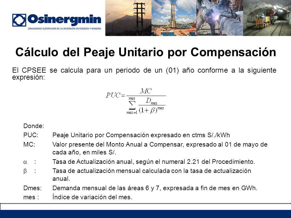 Cálculo del Peaje Unitario por Compensación Donde: PUC:Peaje Unitario por Compensación expresado en ctms S/./kWh MC:Valor presente del Monto Anual a C