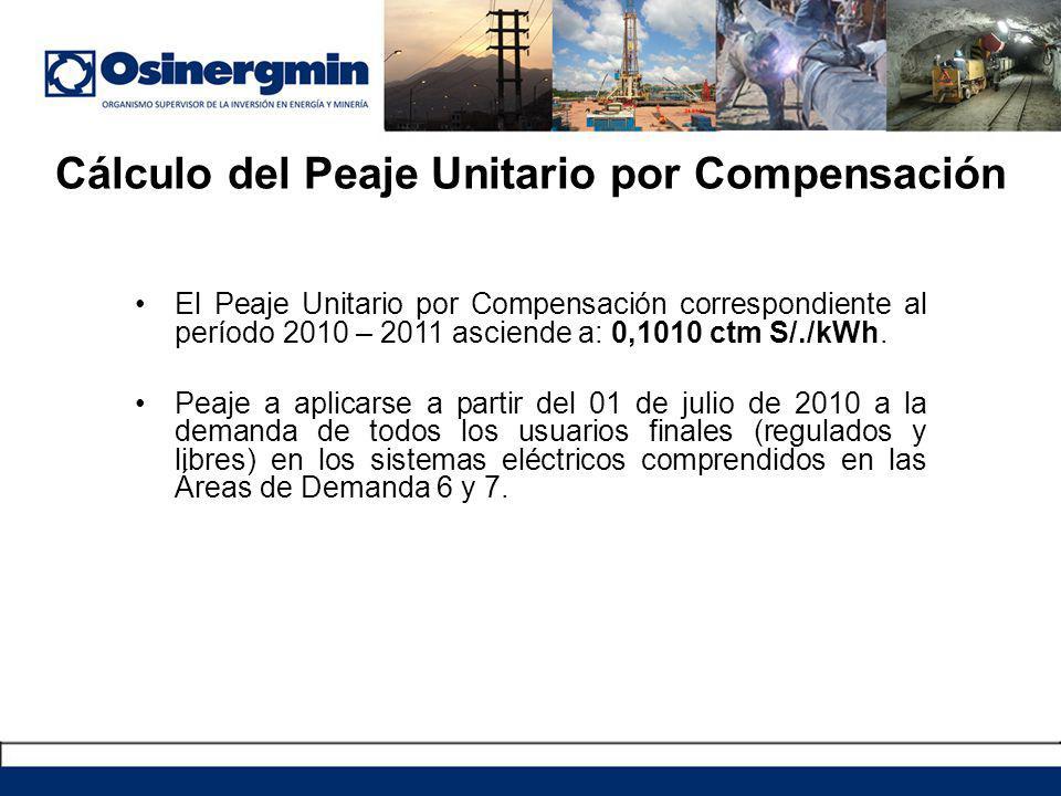 El Peaje Unitario por Compensación correspondiente al período 2010 – 2011 asciende a: 0,1010 ctm S/./kWh. Peaje a aplicarse a partir del 01 de julio d