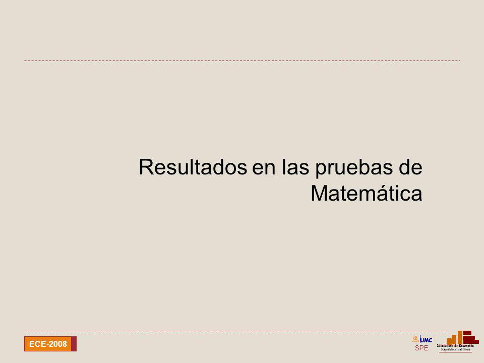 SPE Ministerio de Educación República del Perú ECE-2008 Resultados en las pruebas de Matemática