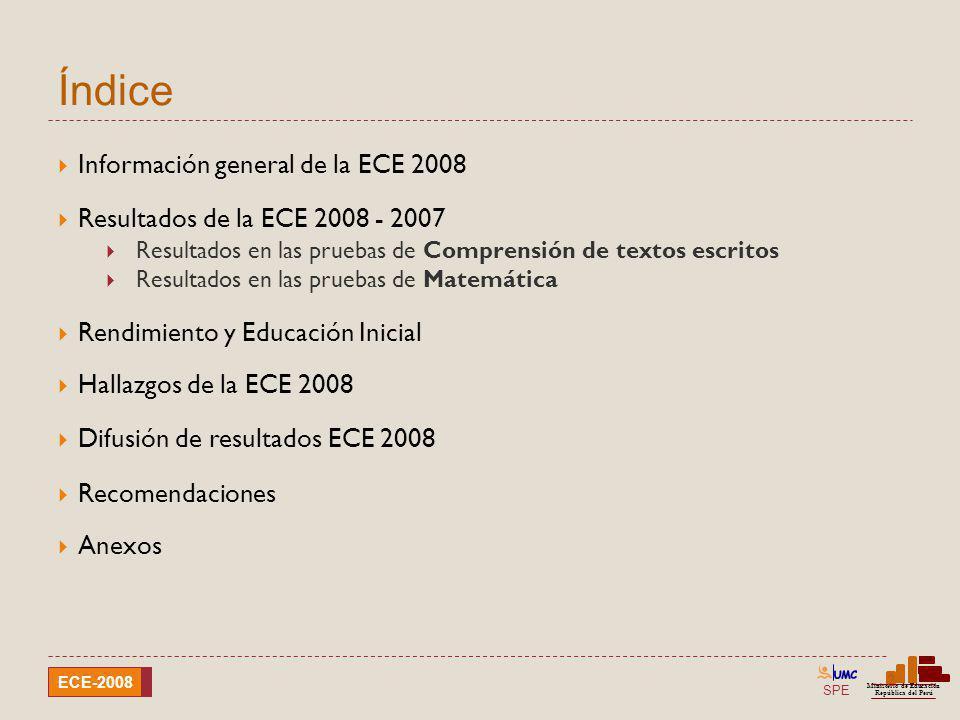 SPE Ministerio de Educación República del Perú ECE-2008 Diferencia de resultados ECE-2008 y ECE-2007 Comprensión de textos escritos Ubicación geográfica Logro ECE-2008ECE-2007Diferencia UrbanasRuralesUrbanasRurales UrbanasRurales %% Nivel 222,65,420,95,61,7*-0,2 Nivel 158,641,960,541,8-1,9*0,1 < Nivel 118,852,718,652,70,20,0 * Diferencia significativa al 5%