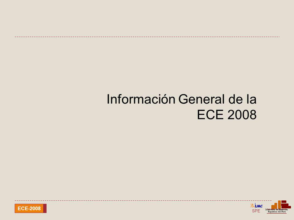 SPE Ministerio de Educación República del Perú ECE-2008 X : No tiene datos por problemas de representatividad en la cobertura alcanzada.