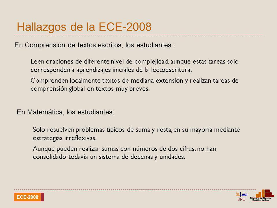 SPE Ministerio de Educación República del Perú ECE-2008 Hallazgos de la ECE-2008 Leen oraciones de diferente nivel de complejidad, aunque estas tareas