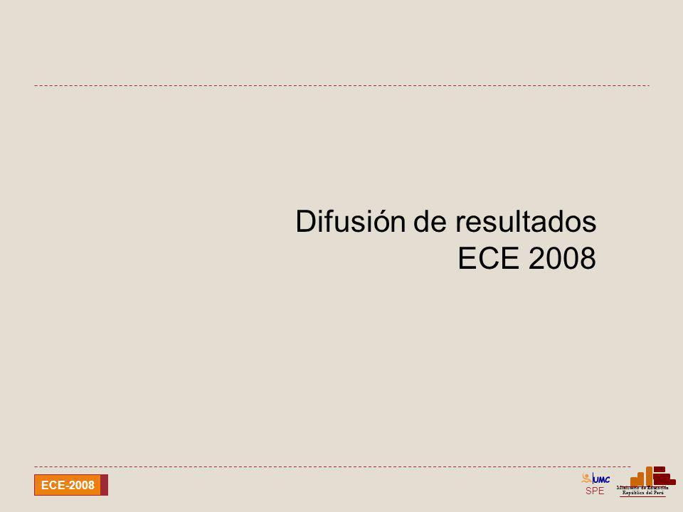 SPE Ministerio de Educación República del Perú ECE-2008 Difusión de resultados ECE 2008