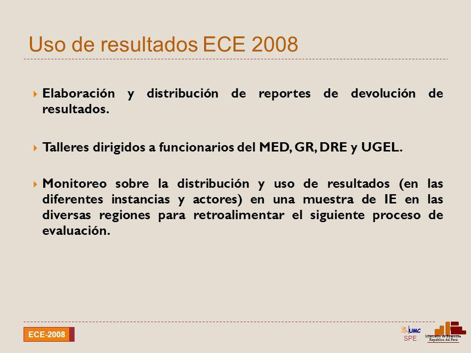 SPE Ministerio de Educación República del Perú ECE-2008 Uso de resultados ECE 2008 Elaboración y distribución de reportes de devolución de resultados.
