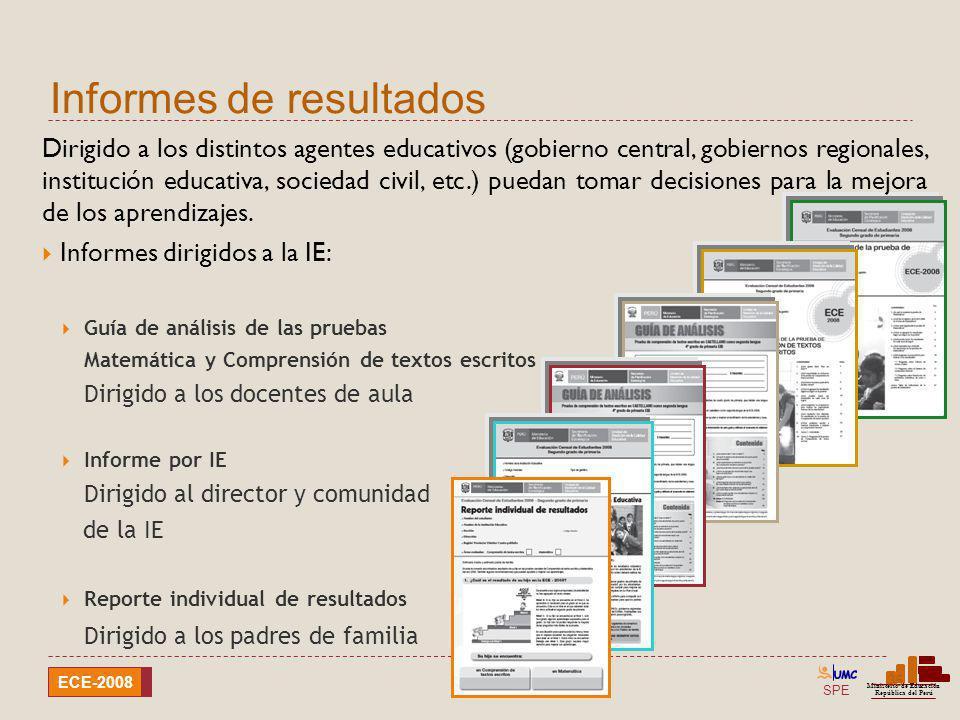 SPE Ministerio de Educación República del Perú ECE-2008 Informes de resultados 35 Dirigido a los distintos agentes educativos (gobierno central, gobie