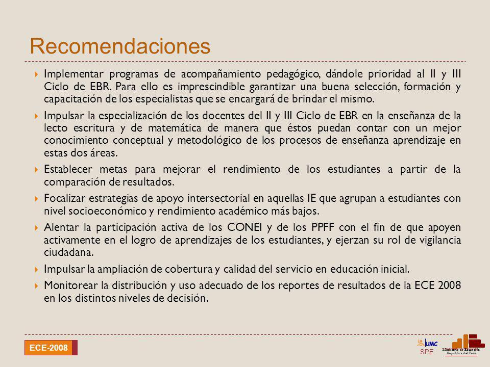 SPE Ministerio de Educación República del Perú ECE-2008 Recomendaciones Implementar programas de acompañamiento pedagógico, dándole prioridad al II y