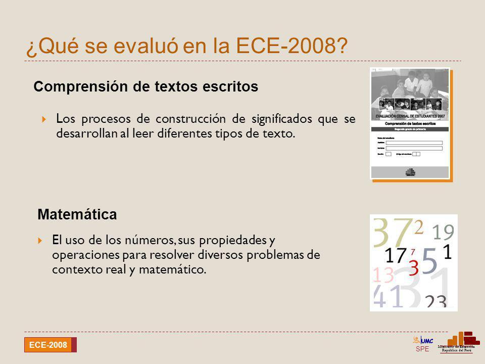 SPE Ministerio de Educación República del Perú ECE-2008 Comparación de resultados por región Comprensión de textos escritos ECE-2008ECE-2007 < Nivel 1Nivel 1Nivel 2< Nivel 1Nivel 1Nivel 2 Región* %%% PASCO 29,258,212,532,855,811,4 PIURA 29,856,413,731,455,013,5 SAN MARTÍN 43,849,07,244,848,86,4 TACNA** 8,260,331,58,765,725,6 TUMBES 23,662,713,723,961,214,9 UCAYALI 55,940,24,049,344,56,3 *Ayacucho, Cajamarca, Huancavelica y Puno no tienen resultados por no haber alcanzado la cobertura requerida.