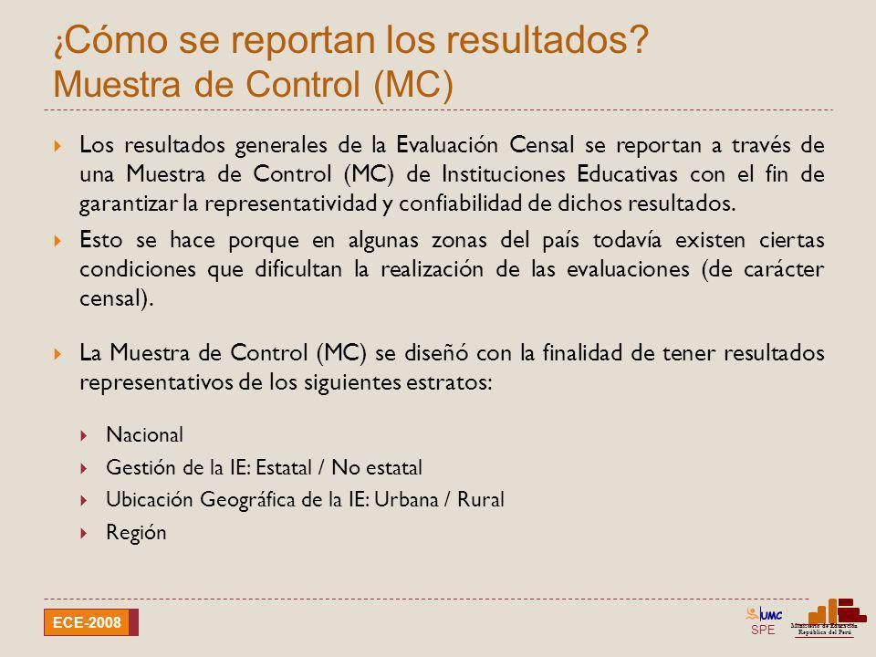 SPE Ministerio de Educación República del Perú ECE-2008 ¿ Cómo se reportan los resultados? Muestra de Control (MC) Los resultados generales de la Eval