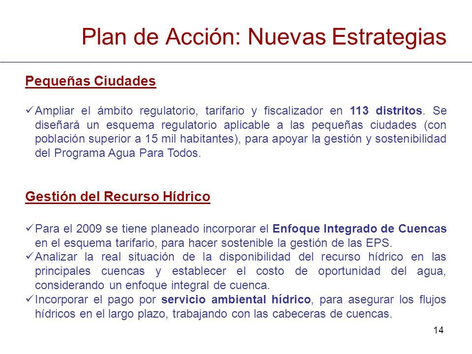 14 Pequeñas Ciudades Ampliar el ámbito regulatorio, tarifario y fiscalizador en 113 distritos. Se diseñará un esquema regulatorio aplicable a las pequ
