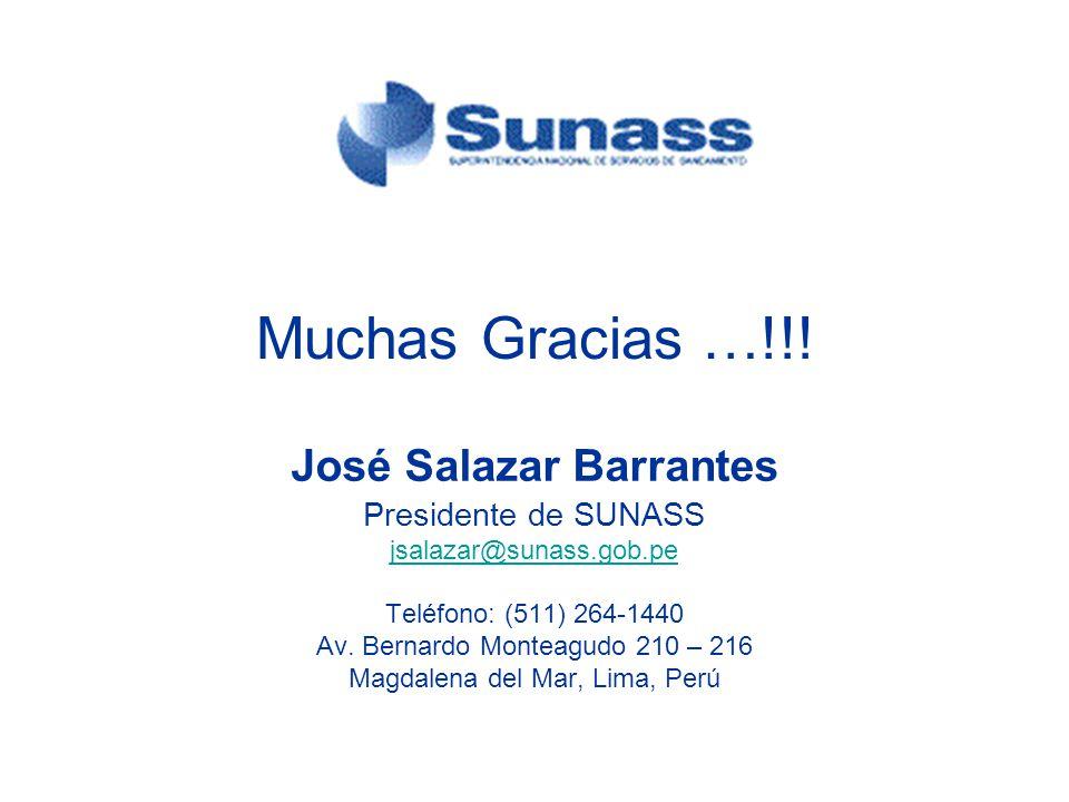 José Salazar Barrantes Presidente de SUNASS jsalazar@sunass.gob.pe Teléfono: (511) 264-1440 Av. Bernardo Monteagudo 210 – 216 Magdalena del Mar, Lima,