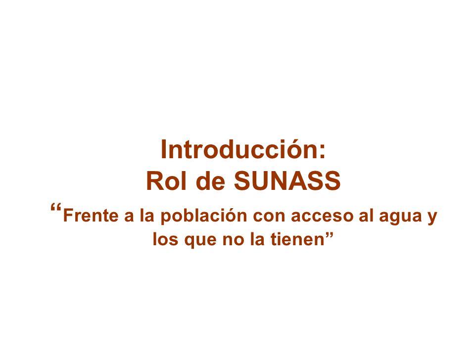Introducción: Rol de SUNASS Frente a la población con acceso al agua y los que no la tienen