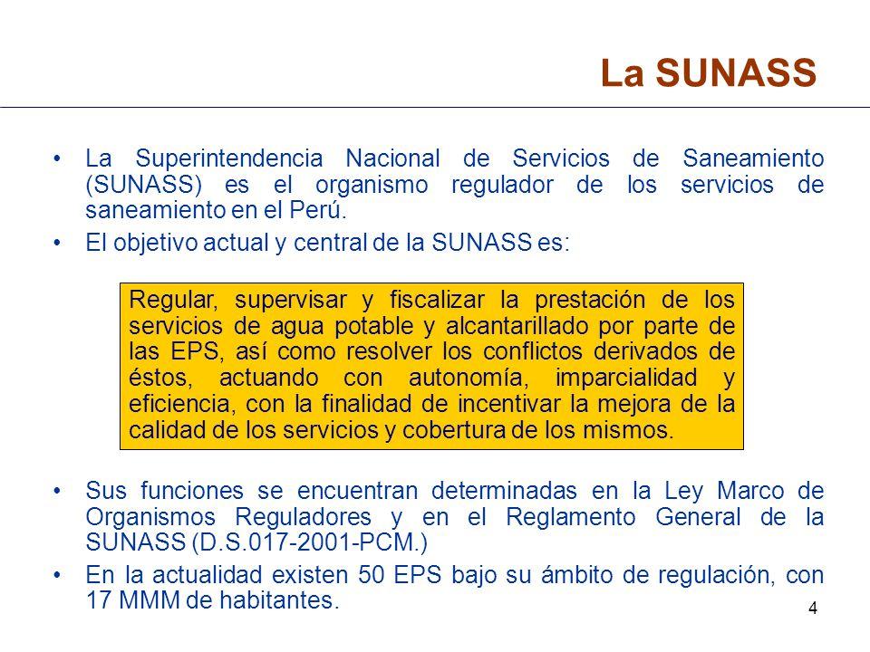 4 La SUNASS La Superintendencia Nacional de Servicios de Saneamiento (SUNASS) es el organismo regulador de los servicios de saneamiento en el Perú. El