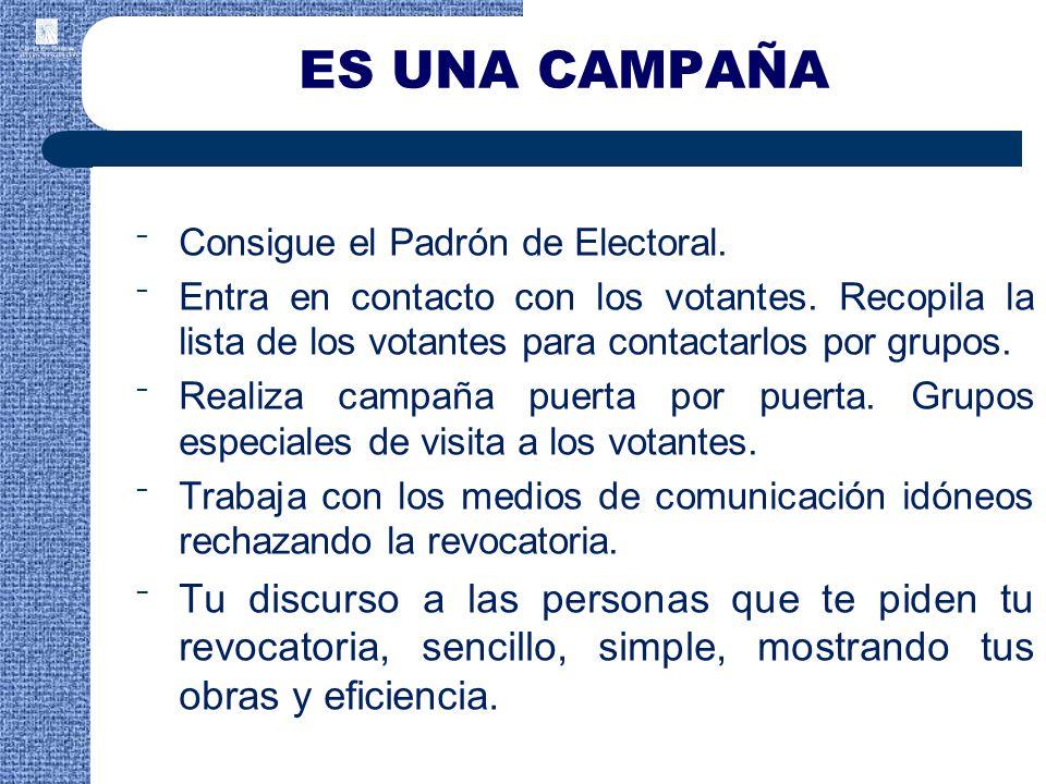 Consigue el Padrón de Electoral.Entra en contacto con los votantes.