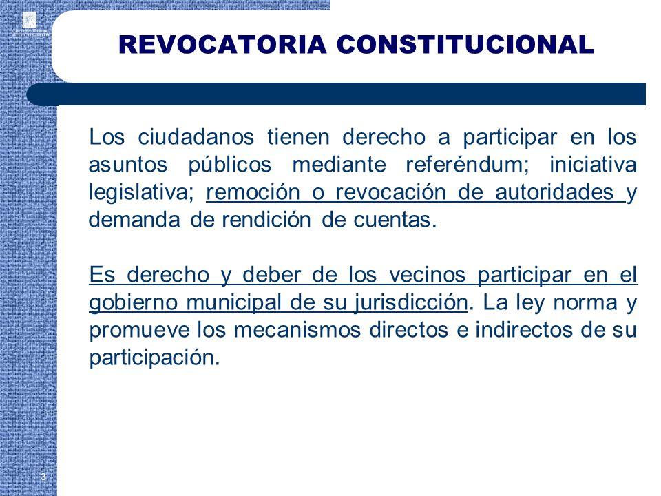 Los ciudadanos tienen derecho a participar en los asuntos públicos mediante referéndum; iniciativa legislativa; remoción o revocación de autoridades y demanda de rendición de cuentas.