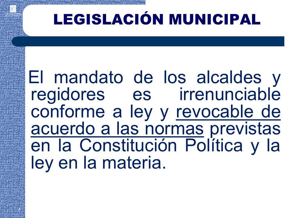 El mandato de los alcaldes y regidores es irrenunciable conforme a ley y revocable de acuerdo a las normas previstas en la Constitución Política y la ley en la materia.