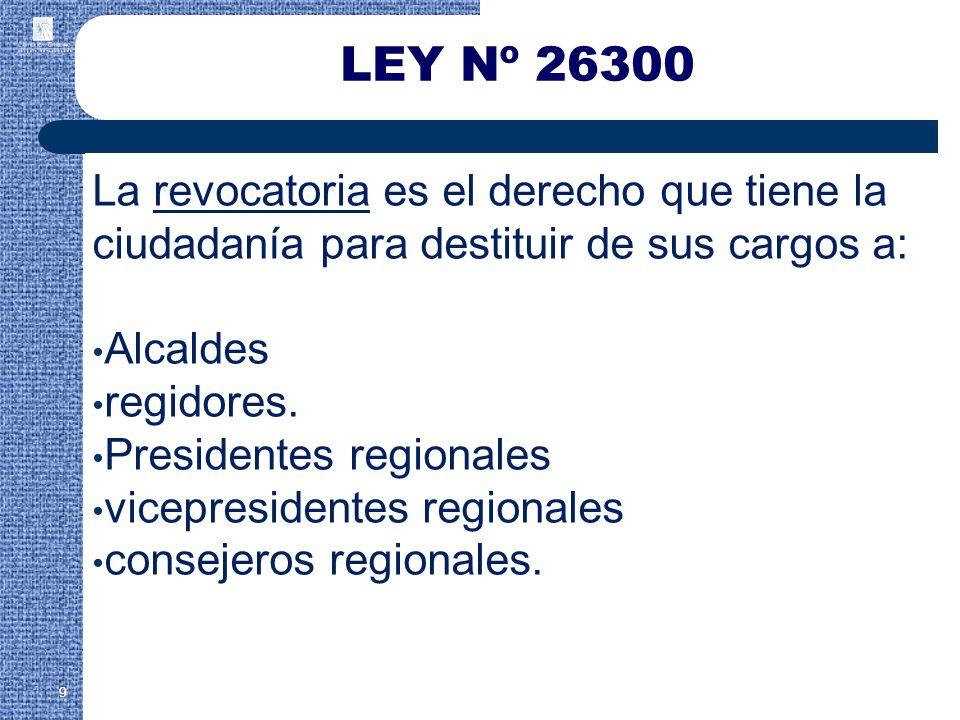 La revocatoria es el derecho que tiene la ciudadanía para destituir de sus cargos a: Alcaldes regidores.